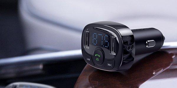 Baseus T-Typed FM & MicroSD Transmitter Dual Araç Şarjı